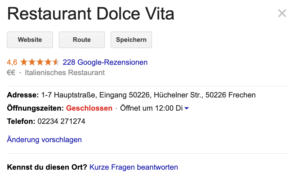 Google My Business Eintrag