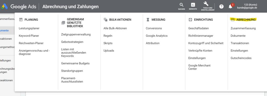 Google Ads Rechnungen finden