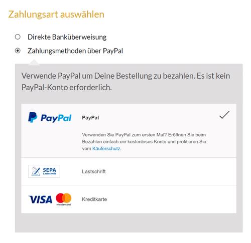 PayPal Plus Auswahl im Shop