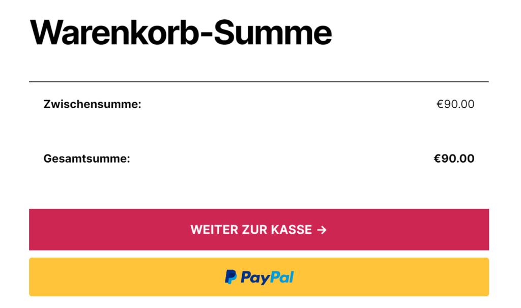 PayPal Express Checkout Button im Warenkorb