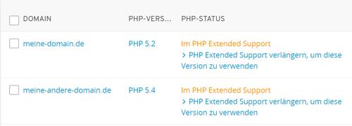 1und1 Ionos PHP-Version Domainübersicht