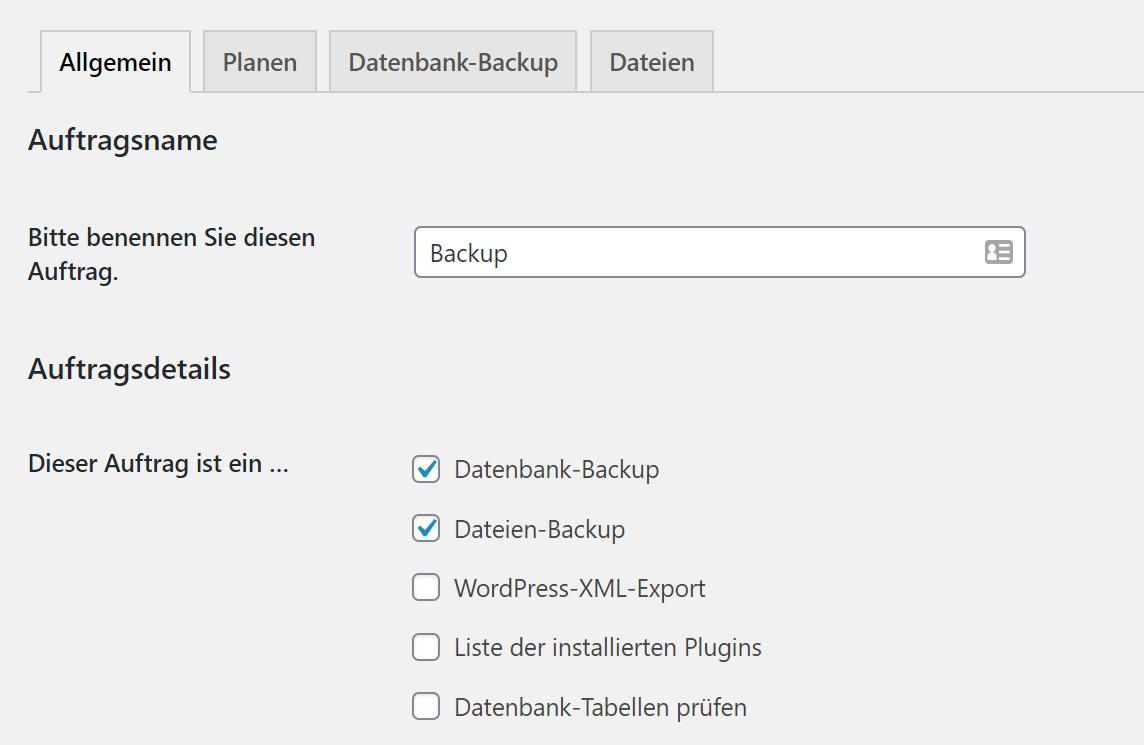 WordPress Backup Auftrag einrichten mit BackWPup