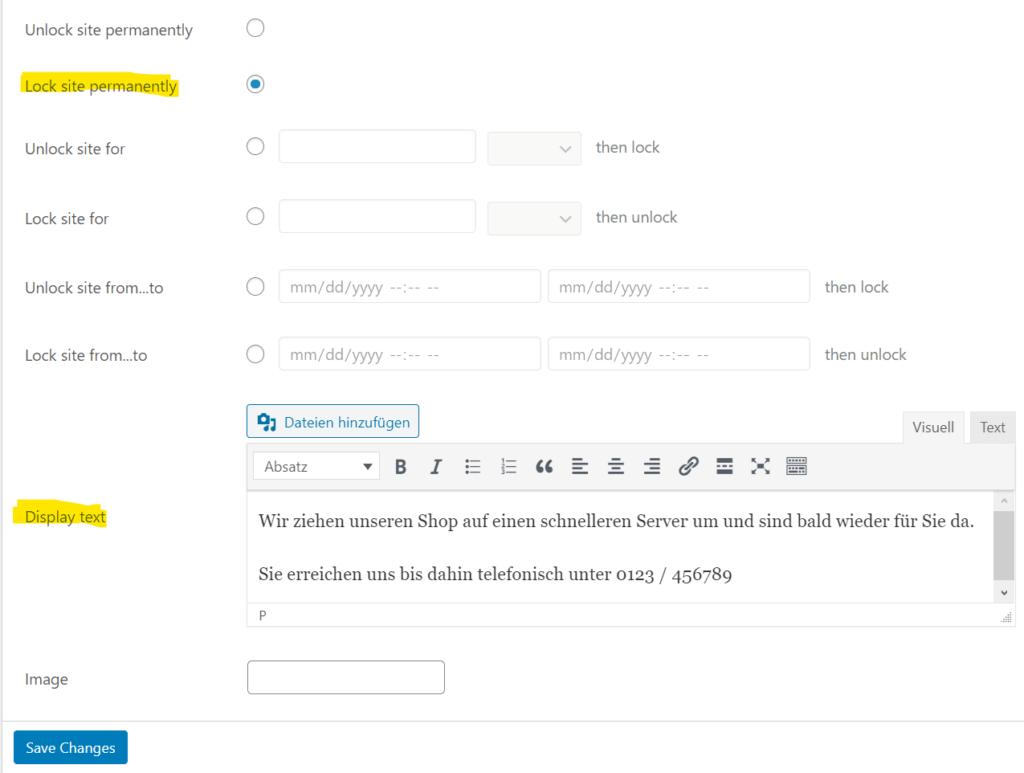 WordPress Umzug vorbereiten: Seite mit WP Lock sperren