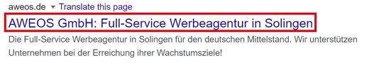 Suchergebnis AWEOS mit markiertem Title-Tag