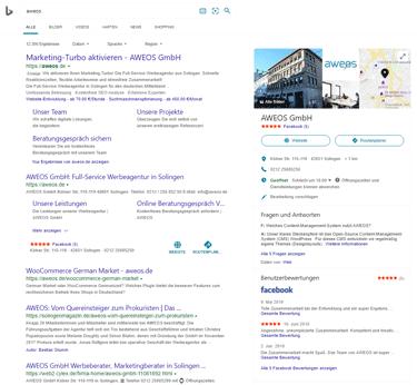 Bing Places anzeigen: AWEOS