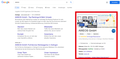 Google My Business Profil von AWEOS