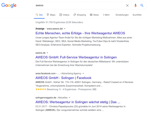 Google Suche nach aweos mit Anzeigen und organischen Suchtreffern