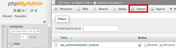 Datenbank exportieren in PHPMyAdmin