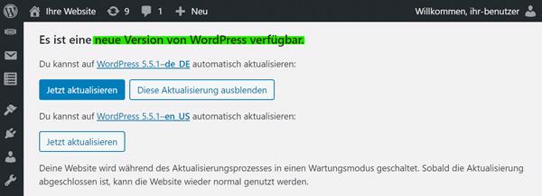WordPress Aktualisierung verfügbar