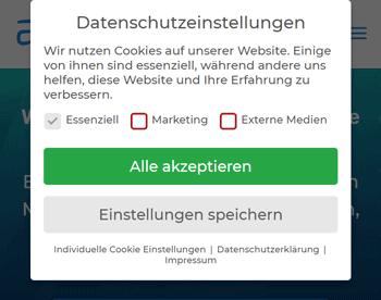 WordPress Cookie Banner Beispiel von aweos.de