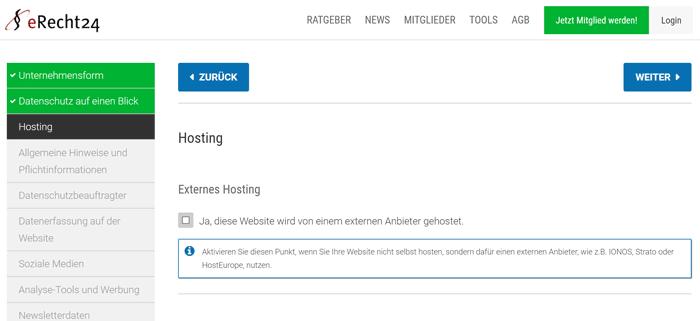 Kostenloser eRecht24 Datenschutz-Generator