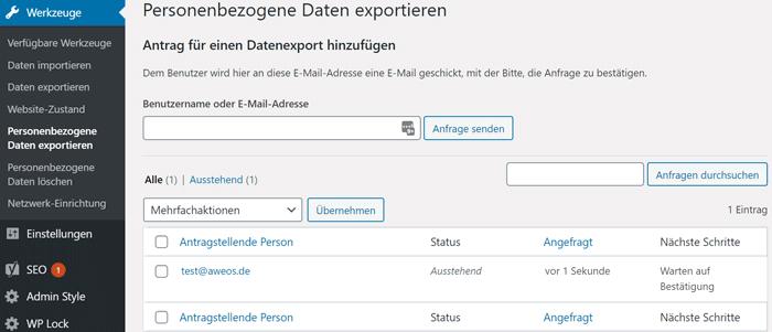 Personenebezogene Daten in WordPress exportieren