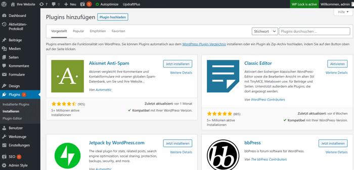 WordPress Plugins über die WP-Admin Verwaltung installieren