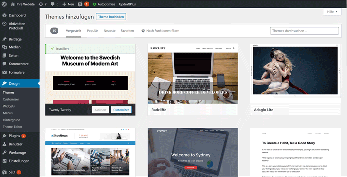 Kostenlose WordPress Themes direkt installieren