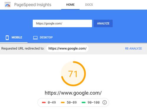 PageSpeed Insights Ergebnis für Google.com