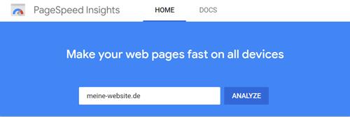 PageSpeed Insights - Google Speedtest Startseite