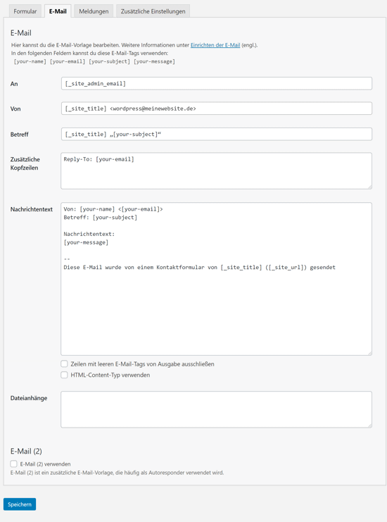 Contact Form 7 E-Mail Vorlage bearbeiten