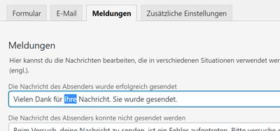 Contact Form 7 Meldungen anpassen