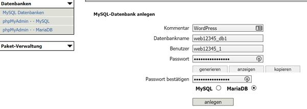 MySQL Datenbank bei webgo einrichten