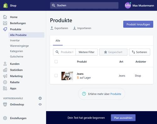 Produktverwaltung bei Shopify