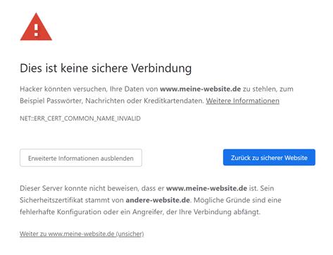 SSL Fehler: falsche Domain