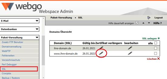 SSL Zertifikat bei Webgo erneuern