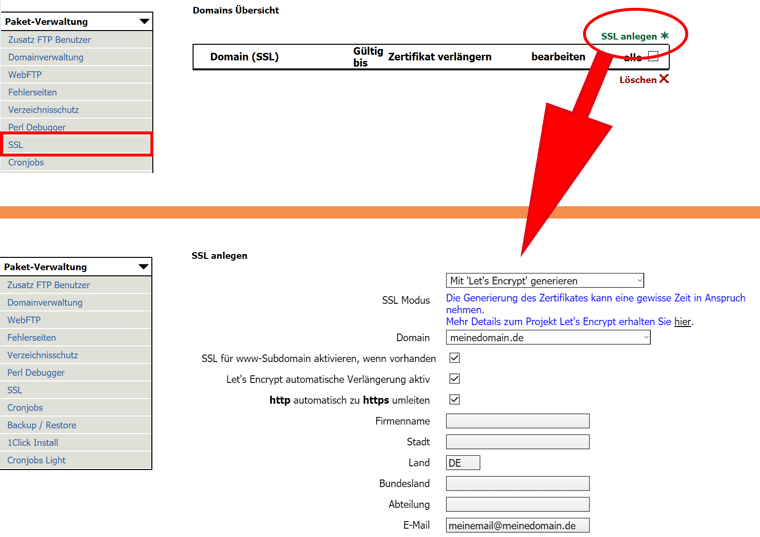 Kostenloses Let's Encrypt Zertifikat bei webgo erstellen