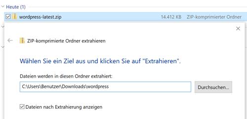 WordPress Download entpacken