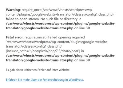 WordPress kritischer Fehler mit Debug-Mode aktiv