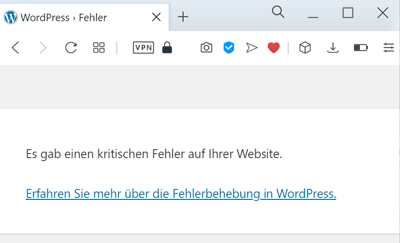WordPress Fehlermeldung bei defektem Plugin