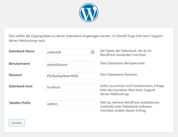 WordPress Installer: Datenbank korrekt hinterlegen