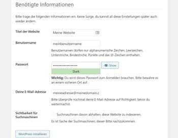 WordPress Installer: Seitentitel und Benutzernamen festlegen