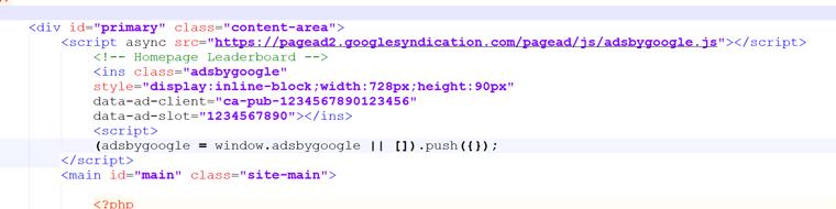 AdSense HTML Code integrieren