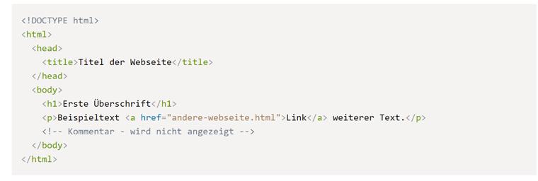 Beispiel für eine HTML Struktur
