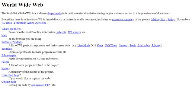 Erste Webseite von Tim Berners Lee