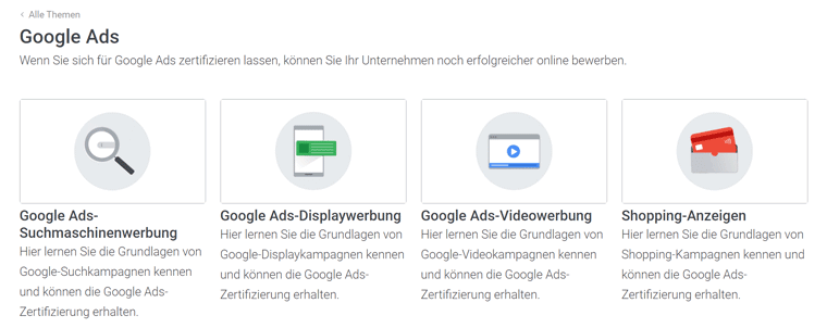 Angebotene Spezialisierungen für Google Ads